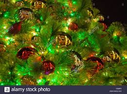close up of christmas tree and lighting and decorations at the