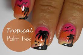 summer tropical palm tree nail art tutorial youtube