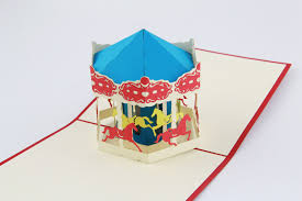carousel luxury 3d pop up greeting card handmade kirigami