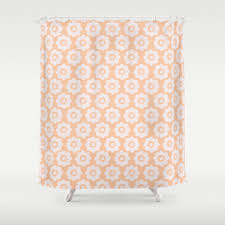 Peach Floral Curtains 1960s Shower Curtains Society6