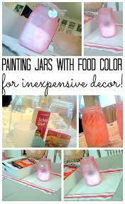 painting jars with food color and metal hang tags the country