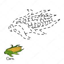 connect the dots fruits and vegetables corn u2014 stock vector