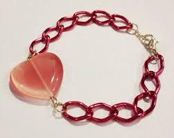 pink heart bracelet images Pink heart bracelet etsy jpg