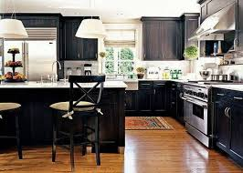Black Stained Wooden Island Set Design Double Door Kichen Cabinets - Black stained kitchen cabinets