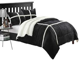 Microsuede Duvet Cover Queen Chloe Plush Microsuede Sherpa Lined Black King 7 Piece Comforter