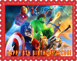 lego marvel superheroes edible birthday cake or cupcake topper