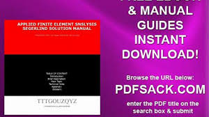 applied finite element snslysis segerlind solution manual video