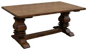 old rustic distressed trestle pedestal dining table for farmhouse