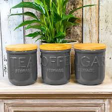 dark grey otto tea coffee sugar canisters kitchen storage jars set