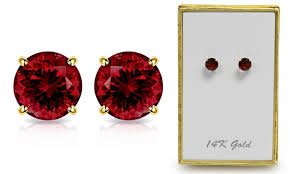 garnet stud earrings 1 65 ctw genuine garnet stud earrings in solid 14k gold by muiblu