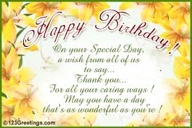 birthday on your special day a wish from all of us to say thank you