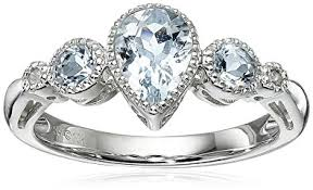 pear shaped ring 10k white gold pear shape aquamarine ring with diamond