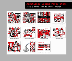 Poker Party Decorations Casino Party Printable Straw Flags Casino Theme Party Casino