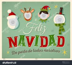 feliz navidad christmas card vintage style family spirit christmas card stock vector 348585707