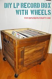 Lp Record Cabinet Furniture Diy Lp Record Storage Box On Wheels