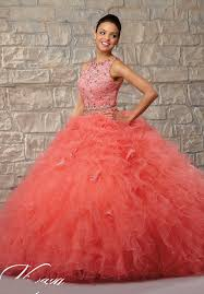 coral quince dress cheap tulle and lace 2 pieces 2015 coral quinceanera dresses