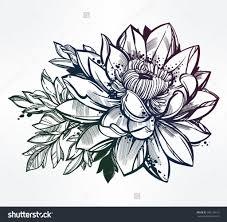 flower bouquet tattoo designs hand drawn lotus flower lily motif