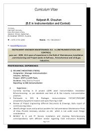 Instrumentation Project Engineer Resume Instrument Engineer Cv