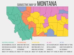 Montana Map With Cities And Towns by Subjective Map Of Montana 1600x1200 Mapporn