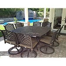 amazon com nassau cast aluminum powder coated 9pc outdoor patio
