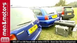 volvo volkswagen 2003 mg ztt vs vw passat w8 vs volvo v70 t5 boot size test