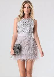 mini skirts charming short feathers prom dress sweet crystal