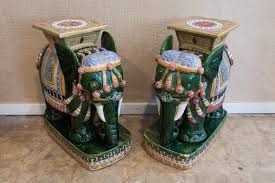 tables pair of green and multicolor ceramic elephant gardent