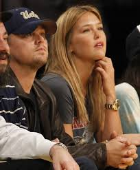 leonardo dicaprio back with bar refaeli at lakers game photos