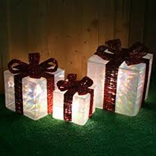 pre lit christmas gift boxes set of 3 pre lit led transparent christmas gift boxes decorations