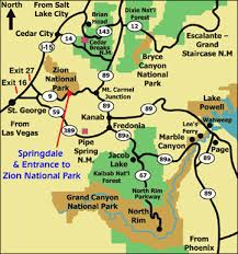 map of zion national park the eaves inn bed breakfast zion national park