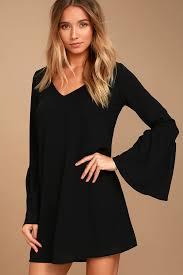 bell sleeve dress shift dress black dress 42 00