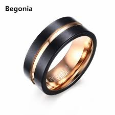 black gold wedding rings fashion black and gold tungsten steel ring wedding bands 8mm