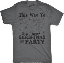 mens this way to the christmas party funny fit santa holiday t