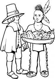 Thanksgiving Pilgrims And Indians Thanksgiving Coloring Pages Printables Indian Man Pilgrim And