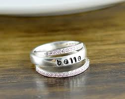 personalized stackable rings personalized rings luckyhorndesigns