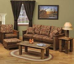 rustic living room furniture sets with brown and red sofa home