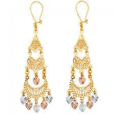 gold chandelier earrings tricolor filigree chandelier earrings ejer22817
