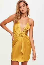 yellow dress yellow strappy silky knot front shift dress missguided