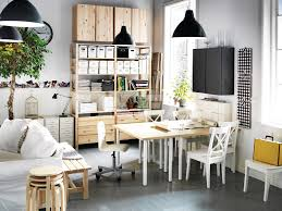 Black White Pine Wood Home Office Space Interior Design Ideas - Office space interior design ideas