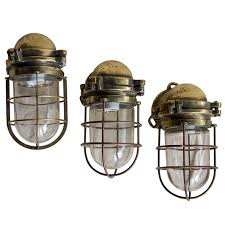 Set Of 3 Vintage Heavy Brass Nautical Lights Glass Shades Anchor Nautical Light Fixtures Bathroom