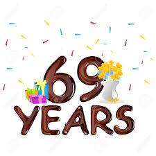 69th birthday card 69th birthday celebration greeting card vector illustration