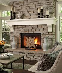 fireplace stones decorative home design captivating picture of living room decoration using indoor light grey stone fireplace including white wood shelf