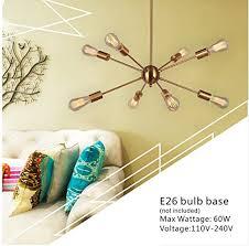 mid century ceiling light sputnik chandelier light vinluz 8 lights brushed brass modern