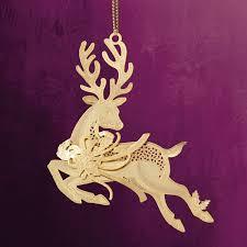 chemart prancing reindeer brass ornament