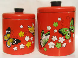 butterflies ransburg kitchen canisters 60s vintage metal tole