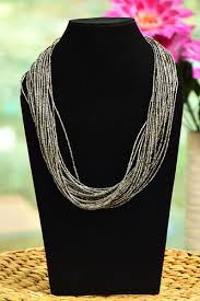 multi layered beaded necklace images Wow trendy beads multi layered beaded necklace gray color size jpg
