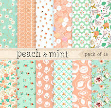 mint wrapping paper and mint digital paper green lace pattern background pink