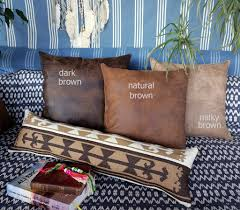 fast shipping naturel brown thick vegan leather pillow with