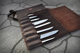 Handcrafted Kitchen Knives by Leather Knife Roll Leather Knife Case Professional Chef Knife