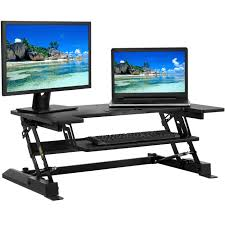 walmart stand up desk luxor 59 w crank adjustable stand up desk dark walnut walmart com